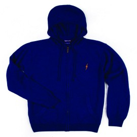 L.BOLT Full Zip Knitted Cashmere Blend Hoodie state blue