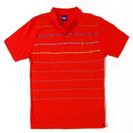 L.BOLT Mirror ENGINEERED STRIPE POLO SHIRT CHERRY TOMATO