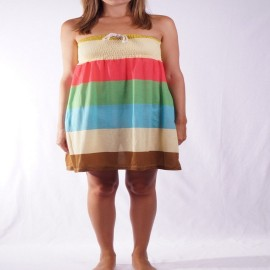 L.BOLT COLOR BLOCKING STRAPLESS DRESS MULTICOLOR