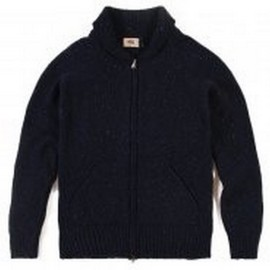 L.BOLT SHAW COLLAR LAMBSWOOK ZIP CARDIGAN BLUE