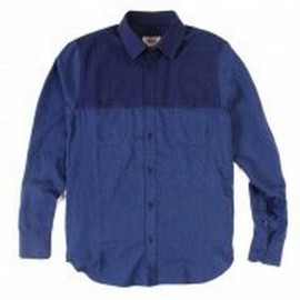 L.BOLT COLOR BLOCKING FLANNEL WORK SHIRT BLUE
