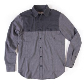L.BOLT COLOR BLOCKING FLANNEL WORK SHIRT BLACK