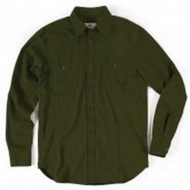 L.BOLT SHARK SKIN OVERDYED FLANNEL WORK SHIRT GREEN