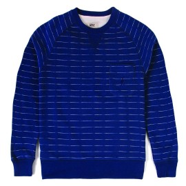 L.BOLT Mirror Stripe French Terry Crewneck Blue