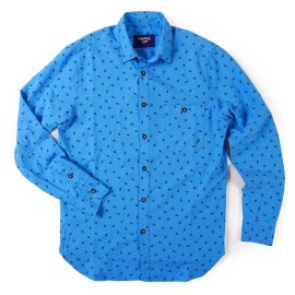 L.BOLT Bolta Dot LB Oxford Vintage Shirt AZURE BLUE