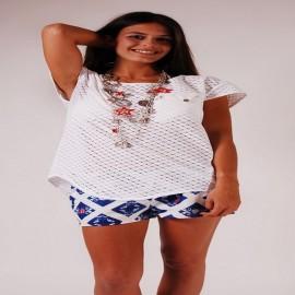 L.BOLT Crochet T-Shirt White